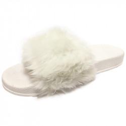 Dámské pantofle s kožešinkou - bílé