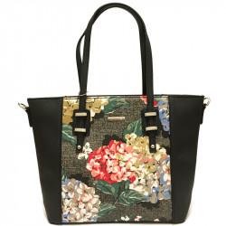 Elegantní květovaná dámská kabelka David Jones 5750-2 - černá