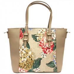 Elegantní květovaná dámská kabelka David Jones 5750-2 - béžová