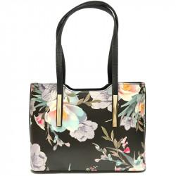 Elegantní květovaná dámská kabelka David Jones cm3816 - černá
