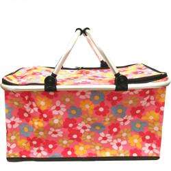 Skládací piknikový termo košík se vzorem - růžový