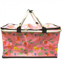 Skládací piknikový termo košík s plameňáky - růžový