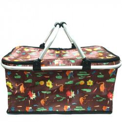 Skládací piknikový termo košík s plameňáky - hnědý