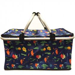 Skládací piknikový termo košík s plameňáky - tmavě modrý