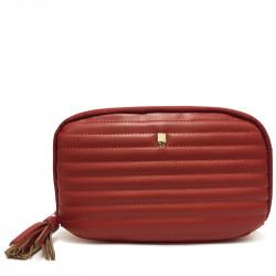 Prostorná dámská peněženka s přívěskem David Jones P062 - karamelově červená